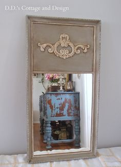 A few weeks ago I found a mirror that had great potential at the Flea Market. Before: I immediately thought of making a Trumeau mirr. Painted Furniture, Diy Furniture, Furniture Design, Trumeau Mirror, Mirror Mirror, Decorative Painting Projects, French Mirror, Art Deco Home, French Country Style