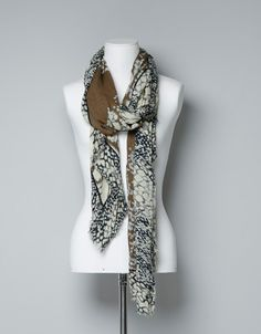 BLUR PRINT SCARF WITH CONTRASTING BORDER - Scarves - Accessories - Woman - ZARA United States