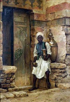 Nubian boy 1888 by Arthur von Ferraris (Hungarian, 1856 -1936) oil on panel 46 x 32.5 cms