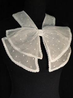 Vintage 1930s 100% silk organza bow collar with embroidered dots - this could make a very cute lolita-style outfit