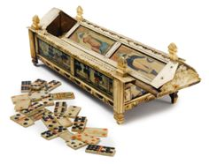 Regency carved bone and polychrome painted gaming box    first quarter 19th century