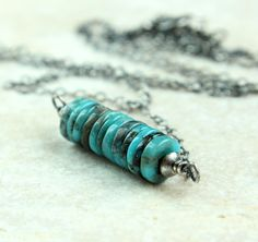 Turquoise    Necklace    Sterling  Silver   Row  by hildes on Etsy, $32.00