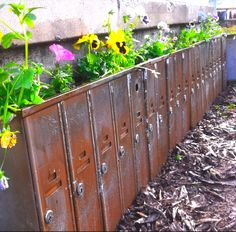 Up-cycled mailboxes turned into a flower garden.