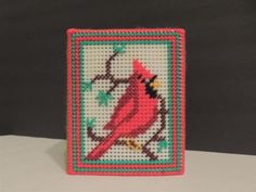 Crafts - CHM00232 - Handmade - plastic canvas tissue box cover - Cardinal