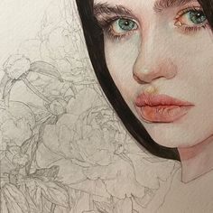 Reina Yamada is an artist who works actively in Japan and is the author of many works of watercolor art. The re-adaptation of watercolor paint. Watercolor Face, Watercolor Artwork, Watercolor Portraits, Watercolor Illustration, Flower Sketches, Portrait Art, Art Inspo, Beautiful Paintings, Flower Art