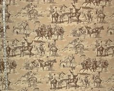 """Equestrian horse fabric Victorian brown toile Double wide from Brick House Fabric: Novelty Fabric This fabric is 111"""" wide. The front woman galloping on the horse is about 6"""" ( 15.24 cm. ) tall and about 5"""" ( 12.70 cm. ) wide. This is a mid-weight home decorating fabric. It has a matt dry look. This is perfect for curtains, cushions, duvets, etc."""