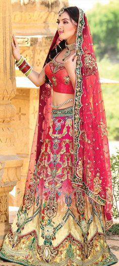123001, Wedding Lehngas, Bollywood Lehenga, Georgette, Net, Machine Embroidery, Kundan, Stone, Patch, Pink and Majenta Color Family