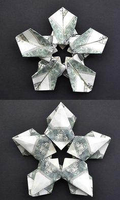 Today we'll make a simple money snowflake (star). We need 5 dollar bills. Only folding, no glue and tape. It's an excellent christmas gift idea! Origami Christmas, Christmas Gifts, 5 Dollar Bill, Money Origami, Oragami, Holiday Decorations, Diy Tutorial, Snowflakes, Tape