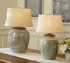Courtney Ceramic Table Lamp Base - Blue #potterybarn $130 9.5 x 21.75  $200 13.5x28.5 #TableLamps