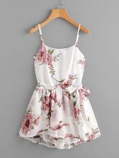 Floral Print Random Tie Open Back Cami Romper #fashiondresses#dresses#borntowear