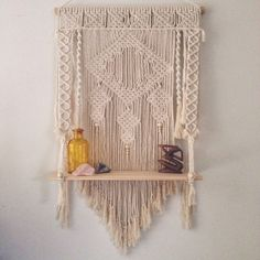 A personal favourite from my Etsy shop https://www.etsy.com/au/listing/269758283/macrame-wall-hanging-shelf