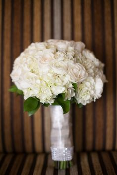 Classic ivory bridal bouquet of roses and hydrangeas