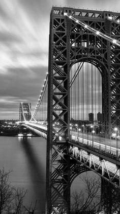 iPhone wallpaper black and white Nyc Background, Fort Lee, Washington Heights, Across The Bridge, Suspension Bridge, Hudson River, George Washington Bridge, New York City, The Neighbourhood