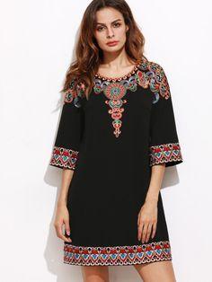 gestickt Tunika Kleid 3/4ärmel -schwarz