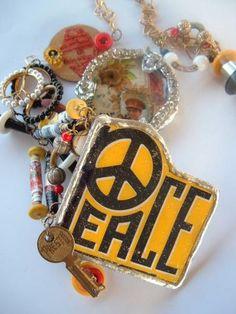 Presto Peace OOAK Statement Necklace Zibbet Trash To Treasure Challenge by spankyluvsvintage2 for $125.00
