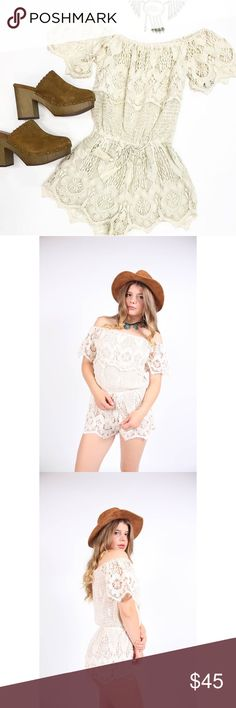 Cream Lace Crochet Off The Shoulder Romper Channel your inner boho gypsy in this Off Shoulder Romper! This romper is the perfect statement wardrobe piece for all your summer adventures. Color is CREAM as seen in second picture.   Color: Cream Fully lined Off shoulder fit Pants Jumpsuits & Rompers