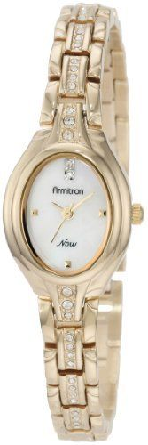 Armitron Women's 75/3991MPGP Swarovski Crystal Accented Gold-Tone Mother-Of-Pearl Dial Bracelet Watch Armitron. $48.74. Gold-tone bezel with 6 genuine crystals accenting the lugs. Gold-tone pyramid markers at 3-6-9. Gold-tone adjustable link bracelet accented with 24 genuine crystals. Gold-tone hour hands; sweep second hand. Mother-of-Pearl dial with a crystal accent at 12 o'clock. Save 25% Off!