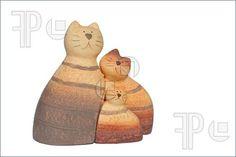 Ceramic cat family