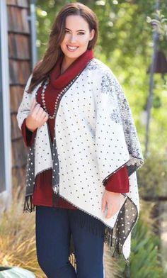 VICTORIA BLACK CAPE/ MiB Plus Size Fashion for Women / Winter Fashion / Plus Size Sweater / Plus Size Outerwear
