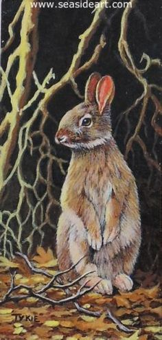 Briar Patch by Tykie Ganz, Florida. Acrylic painting is 3 1/8″ x  1 1/2″, frame: 4 1/2″ x 3″