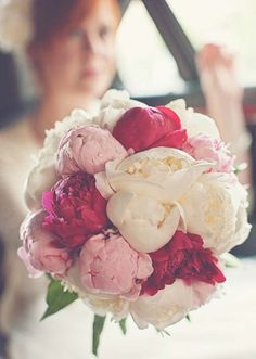 pink, fuschia and white peony bouquet