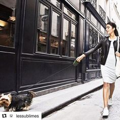 Chic effortless French style for the worldly, ethically made and sustainable. Definitely worth a look see if you like to  #shopethical #sustainableluxury #thekeepersedit #repost @lessublimes ・・・ Sunday stroll through Paris with this cutie 🐶  Guest staring our #gots #organiccotton London dress