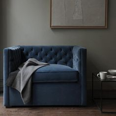Velour/velvet cuddle couch + gray walls =love