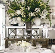 Lisa Vanderpump's  white feather & flower arrangement in Villa Blanca. Beautiful!