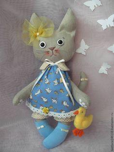 Купить Кошечка с уточкой - синий, кот, котенок игрушка, котенок, кошечка, носочки, бант, уточка