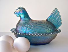 Vintage Carnival Glass Hen Serving Bowl by cynthiasattic on Etsy, $34.00