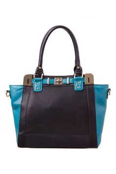 Kelly Blocked Turnlock Tote in BLACK/TEAL #9175 - colette by colette hayman.....I WANT!