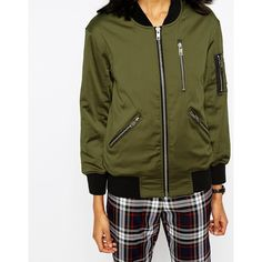 ASOS Bomber Jacket with Zip Detail (€71) via Polyvore featuring outerwear, jackets, lightweight bomber jacket, asos jackets, green zip jacket, green jacket and zipper jacket
