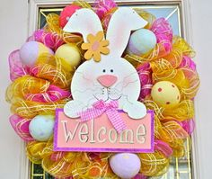 Pink and Yellow Mesh Wreath with  Easter Eggs and by 4allseasons, $55.00