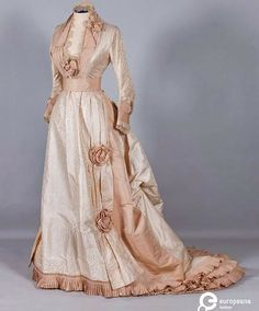 Ivory brocade wedding dress,  1870