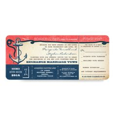 Destination Wedding Invitations wedding boarding pass-vintage tickets with RSVP Card