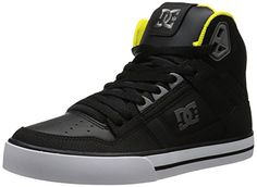 Grey Yellow, Black And Grey, Hip Hop Shoes, Skate Shoes, High Collar, Sneakers Fashion, Black Shoes, Skateboard, High Tops