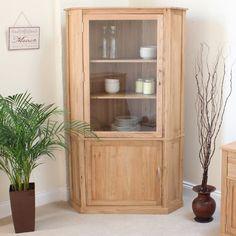 Cabinet Ornate Oak Finished Corner Display Cabinet Leaded