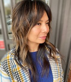Long fringe shag with ribbons of light and dark Long Fringes, Light In The Dark, Ribbons, Salons, Bias Tape, Lounges, Grinding, Long Bangs