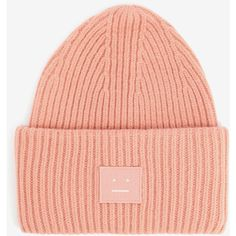 Acne Studios Acne Studios Pansy Beanie Hat ($113) ❤ liked on Polyvore featuring accessories, hats, pink, beanie hat, acne studios, patch hat, beanie caps and pink hats