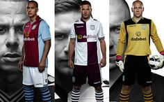The new Aston Villa kits for next season as modelled by Gabby Agbonlahor, Andreas Weimann and Brad Guzan.