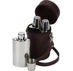 Travelling Three Piece Hip Flask Gift Set from notonthehighstreet.com