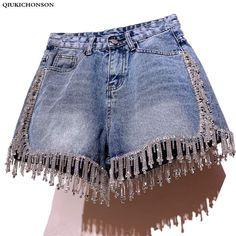Online Shop Qiukichonson Diamond Tassel Denim Shorts Women S Sexy Shorts, Black Denim Shorts, Blue Jeans, Modest Shorts, Women's Shorts, Short Shorts, Levis Short, Short Jeans, Trendy Outfits