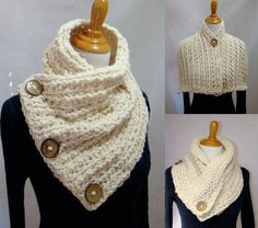 Dallas Dreams Scarf, 3 Coconut Buttons Scarf, Shoulder Warp, Cream Scarf, Coconut Button Scarf This Scarf was inspired by my dreams of … Crochet Scarves, Crochet Shawl, Knit Crochet, Chunky Scarves, Loom Knitting, Knitting Patterns, Crochet Patterns, Style Boston, Scarf Patterns