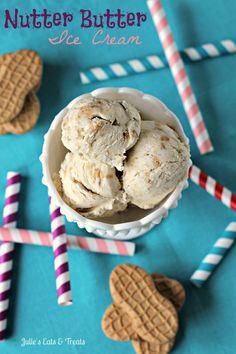 Nutter Butter Ice Cream ~ Creamy & Smooth Peanut Butter Ice Cream stuffed with Nutter Butters! via www.julieseatsandtreats.com