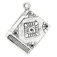 Packet 5 x Antique Silver Tibetan 26mm Book Charm/Pendant ZX05380