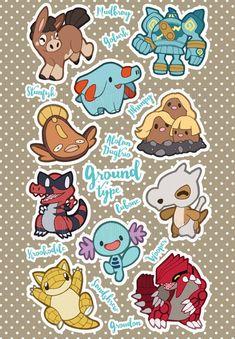 Ground Type Pokemon Sticker Sheet by SkyeLab 150 Pokemon, Pokemon Memes, Pokemon Fan Art, Pokemon Fusion, Pokemon Cards, Grass Type Pokemon, Dragon Type Pokemon, Pokemon Human Form, Drawn Fish