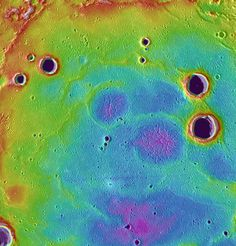 Topographic information from the Mercury Laser Altimeter (MLA) is used to colorize a image mosaic of Goethe basin, located in Mercury's northern region. The purple colors are low and white is the highest; the total range of heights shown in this view is about 1 kilometer. Goethe basin is home to a variety of interesting features, including ghost craters with graben, wrinkle ridges that outline the basin, and dark craters that host radar-bright materials.