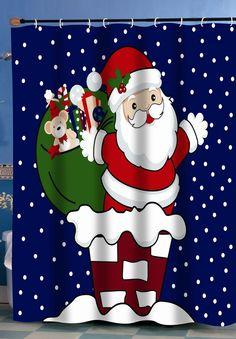 VANCAR Christmas Decor Shower Curtain Custom Xmas Merry Christmas Gifts Presents Snowflakes Ornaments Panel Wood Christmas Tree Star Bathroom Shower Curtain for Christmas Day Home Decoration 66X72