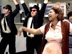 """Mrs. Murphy (Aretha Franklin): """"Don't you blaspheme in here! Don't you blaspheme in here! This is my man, this is my restaurant, and you two are just gonna walk right out that door without your dry white toast, without your four fried chickens, and without Matt 'Guitar' Murphy."""" -- from The Blues Brothers (1980) directed by John Landis"""