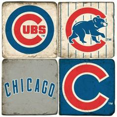 Chicago Cubs Marble Coaster Set | Father's Day gift guide at BelleandJune.com